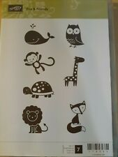 Stampin Up Fox & Friends Set of 7 Stamps Owl Turtle Lion Monkey Giraffe Baby