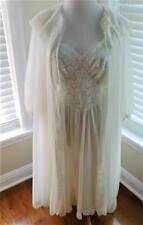 Peignoir Set Henson Kickernick Off White Lace Collar Size Small Nylon Gown Robe