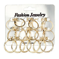 Sexy 9 Pair Set Statement Hoop Earrings Gold Round Chunky Big Dangle Party Women