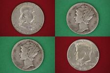 MAKE OFFER $100.00 Face Value 1964 Kennedy Franklin Mercury JunkSilver Coins
