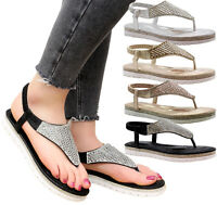 Ladies Womens Flats Wedge Diamante Strappy Toe Post Flatform Sandals Shoes Size