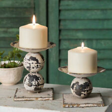 Farmhouse Country Distressed Spheres Pillar Candle Holders  Primitive set of 2