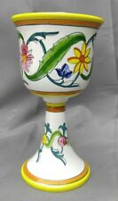 Hand painted Italian faience pottery wine goblet