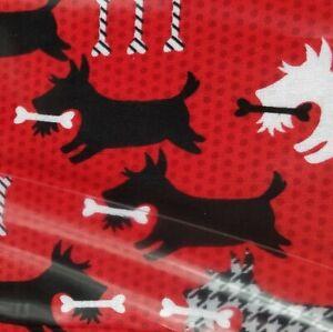 Scottie dog bone pet Scottish red cotton fabric