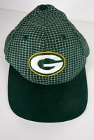 Vtg Green Bay Packers Snapback Hat Cap Green Plaid Check NFL Logo