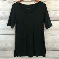 J Jill Black Pima Elbow Sleeve Tunic Top Womens Small Black Knit Stretch V-Neck