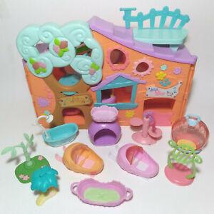 Littlest Pet Shop Club Tree House Playhouse Playset Lot 10 Accessories