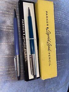 PARKER Vintage liquid Lead Pencil X 2 Blue And Teal