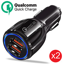 2x Qualcomm QC3.0 Certified Quick Charge 2 USB Port Fast Car Lighter Charger 36W