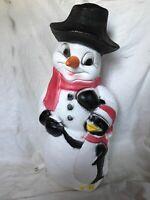 """Blow Mold Light Up Plastic Snowman With Penguin Friend Christmas Decor Union 31"""""""