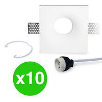 Pacco 10 Faretti in Gesso Ceramico da Incasso per LED con Attacco GU10 Protetto