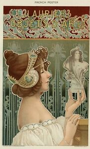 French POSTER Art Book Plate: Authentic 1902 (Dated) True Stone Chromolithograph