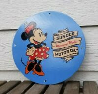 VINTAGE SUNOCO MOTOR OIL PORCELAIN MINNIE MICKEY MOUSE WALT DISNEY GAS PUMP SIGN