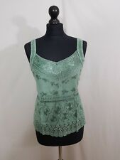 Rayon Satin Lace Hippie Boho Summer Top Embroidery Smocked Back  8 10 12