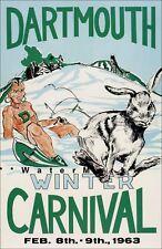 Dartmouth New Hampshire 1963 Winter Carnival Vintage Poster Print Retro Ski Art