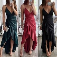 Women's Sexy Sling V-neck Slit Maxi Dresses Ladies Summer Holiday Evening Dress