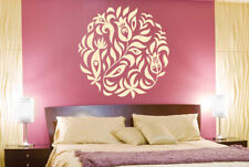 Flowers And Leafs Within Circle Wall Stickers Vinyl Art Decals