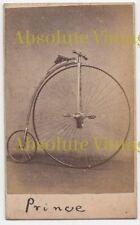 EARLY CDV PHOTO ' PRINCE ' PENNY FARTHING BICYCLE ANTIQUE CARTE DE VISITE C.1880