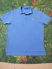 Mens Sz Large Polo Ralph Lauren Short Sleeve Shirt Periwinkle Blue Orange Pony