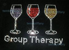 "Hotfix Rhinestone Iron on Heat Transfer Wine design ""Group Therapy 3 glass"""
