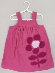 Mini Boden Toddler Girls Corduroy Sundress 3-4Y Pink Flower Applique Sleeveless