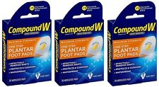 3 pack - Compound W One Step Plantar Foot Pads, Effectively Remove Warts 20 Each