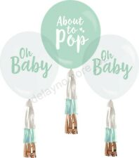 Baby Shower Party 3 Balloons + Tassels Decoration 30cm Helium Pop Oh Baby Gold