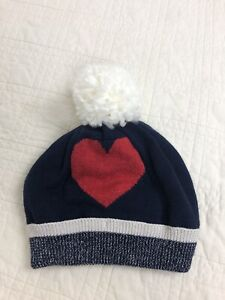 babyGap Red Heart Pom Hat Navy M/L Medium/Large Blue Fleece Lined NWT $29