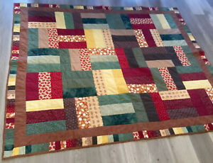 Patchwork Quilt, Rectangle Logs, Hand Made, Calico Prints, Brown, Green, Rust