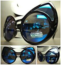 UNIQUE VINTAGE EXAGGERATED CAT EYE Style SUNGLASSES Black Frame Blue Mirror Lens