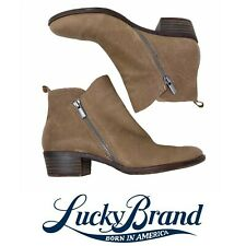 Lucky Brand Bryton Sz 7.5 Ankle Boots Booties Brown Leather Zippers Stack Heel