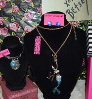 3PC BETSEY JOHNSON MERMAID W/CRYSTALS NECKLACE SCALE EARRINGS CHARM BRACELET