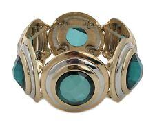 Zest Golden elástica Circular Disco Pulsera Con Grandes Facetado Piedras Verdes