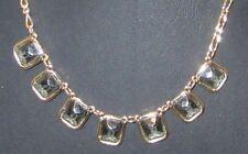 Crystals Necklace 5796B Fashion Goldtone Gray