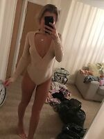 Size 8 Pretty Little Thing Nude Choker Low Cut Thong Bodycon Bodysuit Body Tight