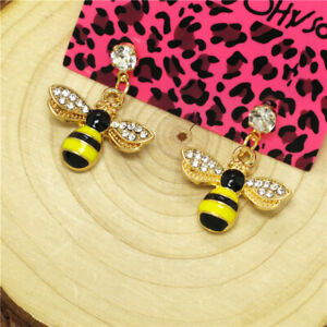 Hot Yellow Enamel Cute Bee Honey Crystal Betsey Johnson Women Stand Earrings