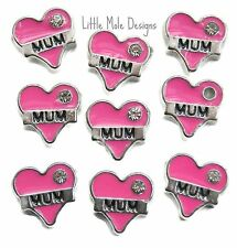 Pink Mum Heart Floating Charm for Living Memory Locket Necklace Family Charms