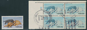 USA 1982 Christmas Kitten & Puppy 13 C. VFU Bl. of 4 VARIETY MISSING COLORS