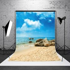 3X5 FT Blue Sky Beach Ocean Photography Background Backdrop Photo Props Vinyl US