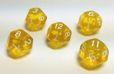 (5) D12 Yellow Translucent Color Polyhedral Dice Set, 12 Sided Lot D&D RPG DnD