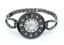 Black Crystal Bling Face Thin Bracelet Women's Jewelry Watch