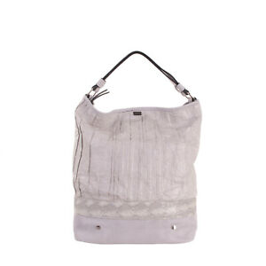 RRP €140 TSD12 RESEARCH Hobo Bag Large Crumpled Paper Effect Front Zip Closure