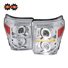 11-16 Ford F250 F350 Super Duty Chrome Housing Projector Headlight Halo LED DRL