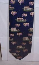 Rams and fences on blue Silk Tie
