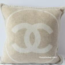 CHANEL BLANKET & PILLOW Beige Camel White FULL SET Rug CASHMERE WOOL LOGO NEW