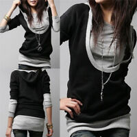 Fashion Women Slim Sweats Hoodie U Collar Cotton Sweatshirt Long Sleeve Hoodi Vh