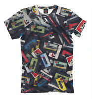 Audio Cassettes tape tee - retro all over print funny t-shirt old school art