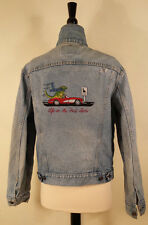 LEVI STRAUSS JACKET Embroidery Life in the Fast Lane BLUE Men's See Measurements