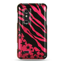 AT&T LG Thrill 4G P925 HARD Protector Case Snap Phone Cover Hot Pink Star Zebra