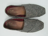 TOMS Women's Ballet Flats Gray Tweed Sparkles Slip on Size 8.5
